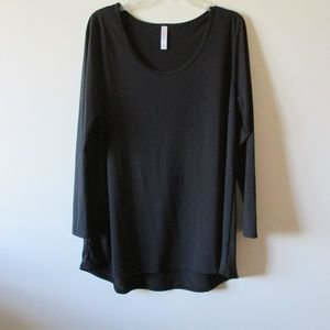 LuLaRoe Plus Size 2X Tunic Top Black Long Sleeve